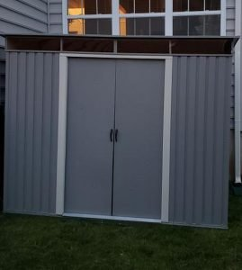 Duramax pent roof metal shed.
